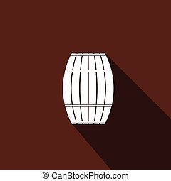 Wooden barrel icon with long shadow.