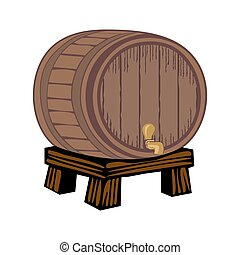 Wooden barrel, isolated on white - Wooden barrel with a tap...