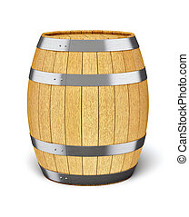 Wooden barrel isolated on white