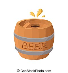 Wooden barrel of beer icon, cartoon style - Wooden barrel of...