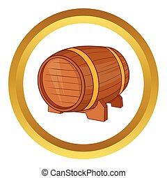 Wooden barrel of beer vector icon