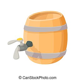 Wooden barrel of beer with a tap cartoon icon on a white...