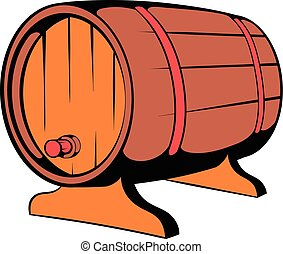 Wooden barrel of beer with a tap icon icon cartoon - Wooden...