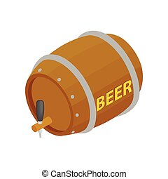 Wooden barrel of beer with a tap isometric 3d icon on a...