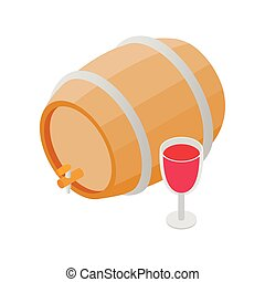 Wooden barrel of wine with a tap isometric 3d icon