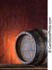 Wooden barrel. Old wooden keg. Barel on beer vine whiskey...
