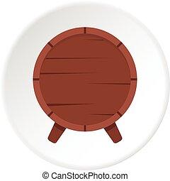 Wooden barrel on legs icon circle - Wooden barrel on legs...