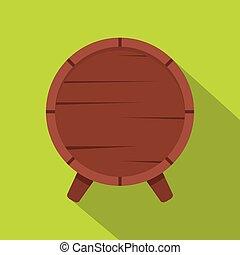 Wooden barrel on legs icon, flat style - Wooden barrel on...