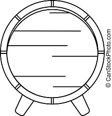 Wooden barrel on rack icon, outline style - Wooden barrel on...