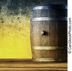 Wooden barrel on the table