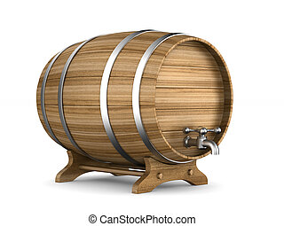Wooden barrel on white background. Isolated 3D illustration