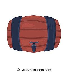 wooden barrel on white background