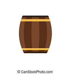 Wooden barrel on white background. Vector illustration.