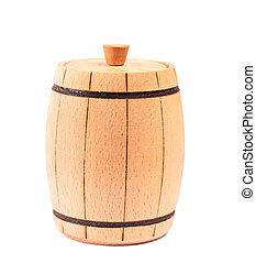 Wooden barrel on white