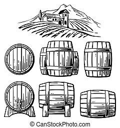 Wooden barrel set and  rural landscape with villa, vineyard fields, hills, mountains. Black and white vintage vector illustration for label, poster, web, icon.