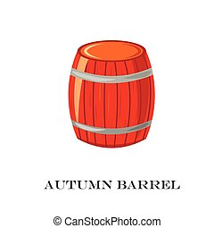 Wooden barrel vector illustration. Autumn time.White background.