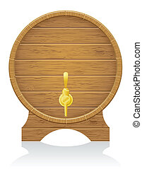 wooden barrel vector illustration isolated on white...