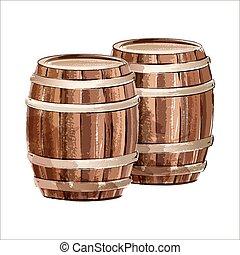 Wooden barrel. Watercolor sketch