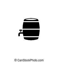 Wooden barrel with a tap flat icon - Wooden barrel with a...