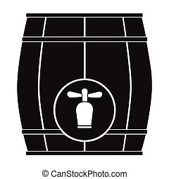 Wooden barrel with a tap icon in black style isolated on white background. Pub symbol stock vector illustration.