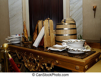 Wooden barrel with beer and food