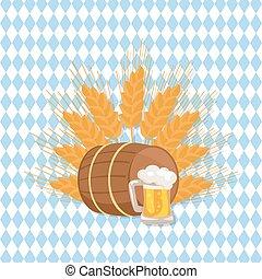 Wooden Barrel with Beverage and Mug of Beer Vector
