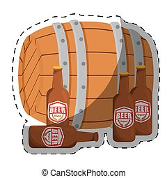 wooden barrel with bottles of beer design