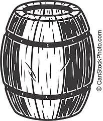 Wooden barrel with craft beer bar menu