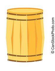 Wooden barrel with iron rings vector cartoon.