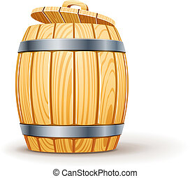 wooden barrel with lid vector illustration isolated on white...
