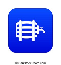 Wooden barrel with tap icon digital blue