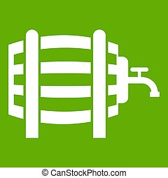 Wooden barrel with tap icon green