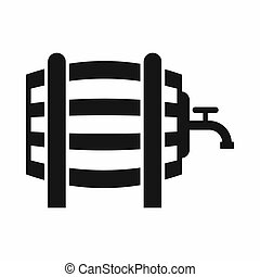 Wooden barrel with tap icon, simple style