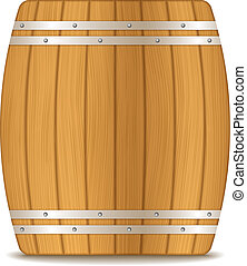Wooden Barrel - Wooden barrel on white background, vector...