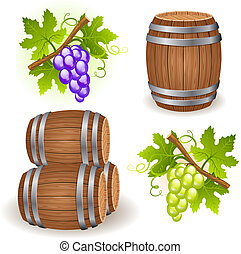 Wooden barrels with wine and grape clusters