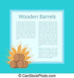 Wooden Barrels and Ripe Wheat Ears Illustration