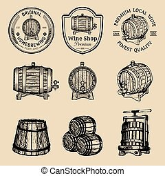 Wooden barrels collection for alcohol drinks icons or signs....