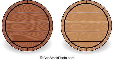 Wooden barrels isolated on white background, vector...
