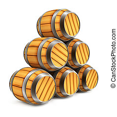 wooden barrels for wine and beer storage isolated on white...