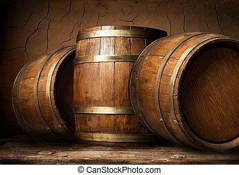 Wooden barrels in cellar