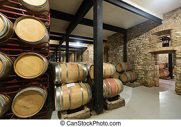 wooden barrels in old winery