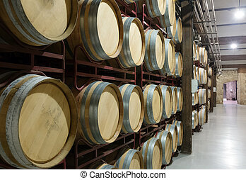wooden barrels in  winery
