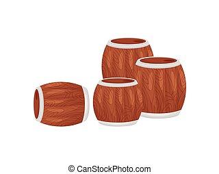 Wooden barrels on a white background. Vector illustration.