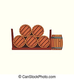 Wooden barrels, winery production process vector...