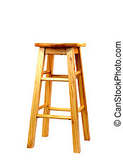 a isolated wooden barstool
