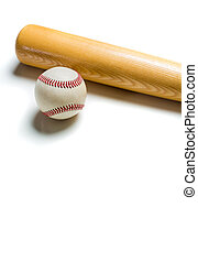 Wooden baseball bat and ball on white
