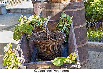 wooden basket in autumn