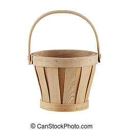 Wooden Basket isolated on a white background with clipping path
