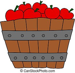 Wooden basket with red apples. Vector illustration.