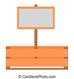 wooden basket with tag isolated icon
